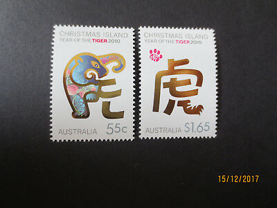 No--1--2010  Christmas  Island  Year  Of  The  Tiger  Issues   2 Stamps  Mint