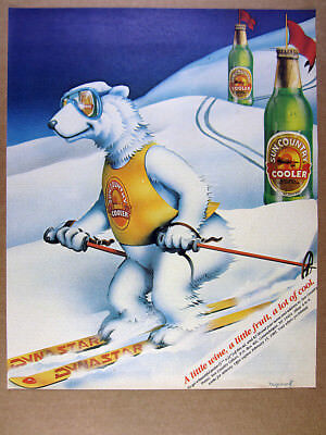 1984 Sun Country Wine Coolers polar bear skiing dynastar skis vintage print Ad
