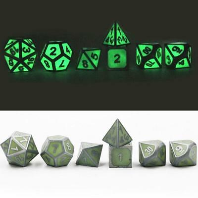 7Pcs/Set Antique Metal Polyhedral Dice DND RPG MTG Role Playing Game With B I8L0