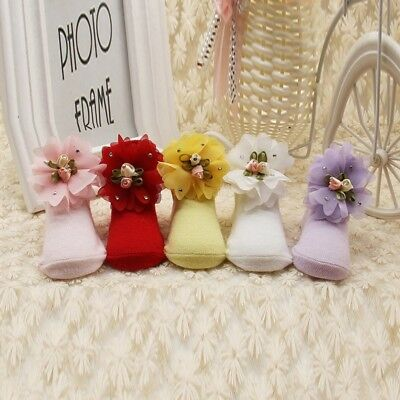 Cute Baby Girl NewBorn Princess Lace Flowers Infant Toddler Soft Cotton Socks US
