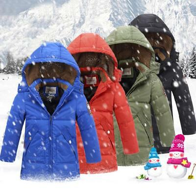 Winter Boys Kids Hooded Fur Collar Cotton Down Jacket Padded Coat Thick Parkas