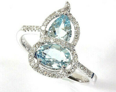 1.7 ct tw Natural Sky Blue Aquamarine & Diamond 14k White Gold Cocktail Ring