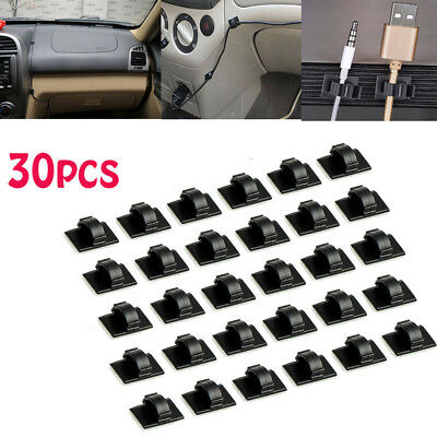 Cable Organizer 30pcs Holder Mount Rectangle Wire Clip Tie Self-adhesive Car