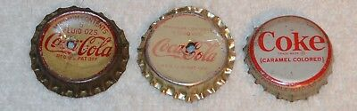 3 Vintage Coca Cola Coke Bottle Caps Cork Back Evansville Indiana Bottling Works
