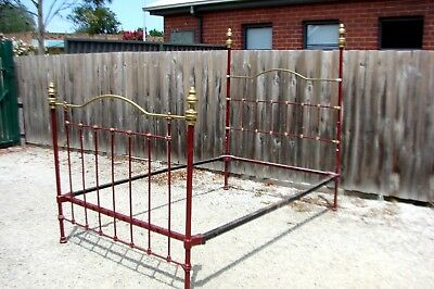 Antique Cast Iron Brass Bed