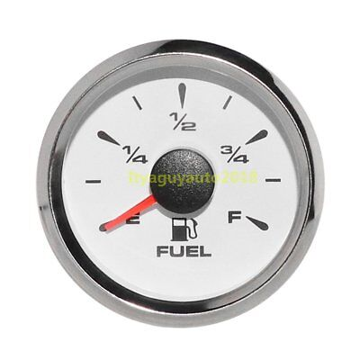 52mm Fuel Gauge Marine Boat RV Car Gas Diesel Tank Level Gauge 316L White