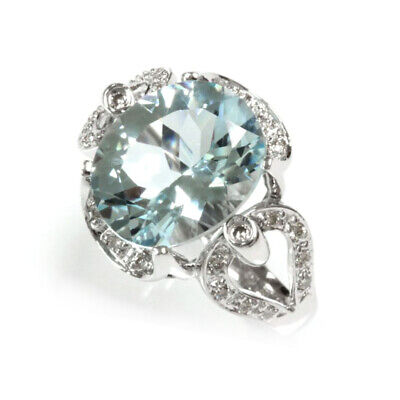 4.25 ct tw Natural Sky Blue Aquamarine & Diamond 14k White Gold Cocktail Ring