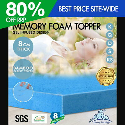 Starry Eucalypt Cool Gel Memory Foam Topper Mattress King Queen Double Single 8