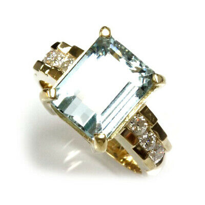 5.55 ct tw Natural Blue Green Aquamarine & Diamond 14k Yellow Gold Cocktail Ring