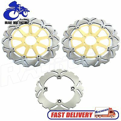 Gold Set Front Rear Brake Disc Rotors for Ducati 748 916 998 R S SP SPS BIPOSTO
