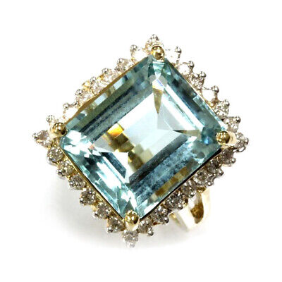10.24 ct tw Natural Sky Blue Aquamarine & Diamond 14k Yellow Gold Cocktail Ring