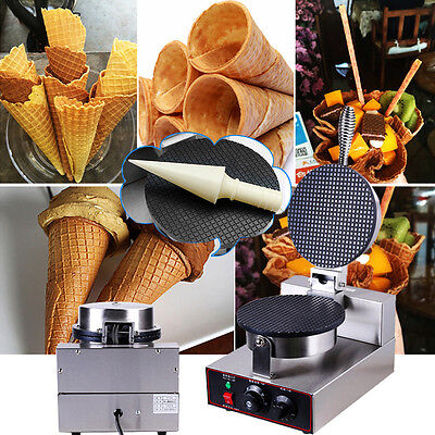 Commercial Electric Nonstick Regular Ice Cream Waffle Cone Maker Machine Baker
