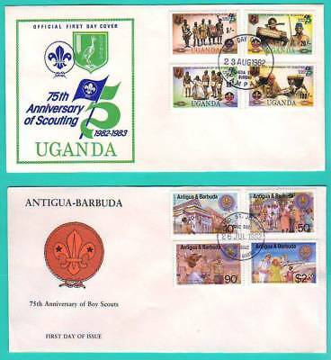 UGANDA plus ANTIGUA & BARBUDA  1982  SCOUTING  FIRST DAY COVERS  - SEE SCANS