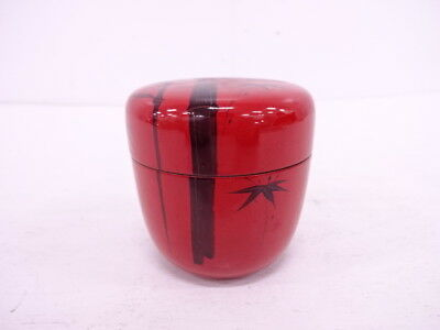 92310# Japanese Tea Ceremony / Natsume (Tea Caddy ) / Vermillion Lacquer / Bambo