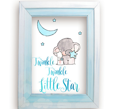 Twinkle Twinkle Little Star Elephant And Bunny Rabbit Baby Boy Room Art Print