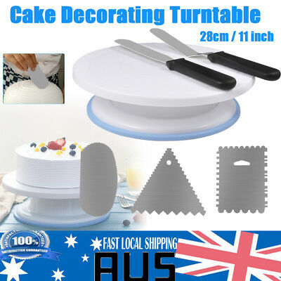 11'' 28cm Cake Turntable Rotating Stand w/ Comb & Icing Smoother + Icing Spatula