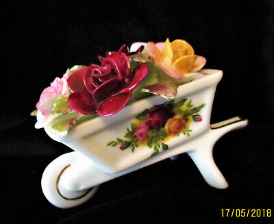 """ROYAL ALBERT  """"Old Country Roses""""   Wheelbarrow with Applied Flowers   Ex Cond"""