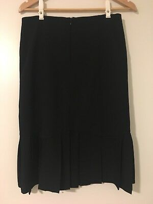Jacqui-E Skirt black Pleated bottom corporate office Work Size 8 Made in Aus