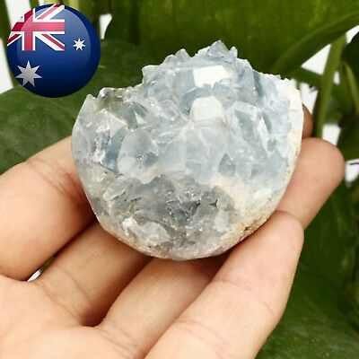 Natural Blue Celestite Crystal Quartz Drusy Geode Cluster Healing Decor Ornament