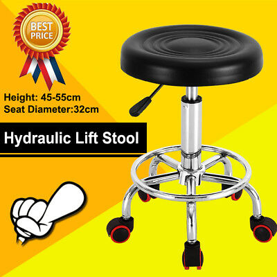 1x Salon Stool Hairdressing Barber Chair Beauty Swivel PU Leather Hydraulic Lift