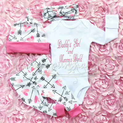 UK Stock Newborn Outfit Baby Girls Rompers Leggings Playsuit Clothes Bodysuit