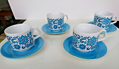 Set of 4 Vintage Flower Power Coffee Cups + Saucers TAMS Mid Century Blue White
