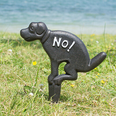 Metal Cast Iron No Fouling Dog Poo Sign Garden Lawn Ground Spike Warning Plaque