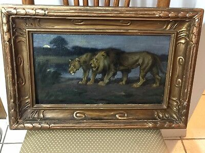 "Eugenie Fish Glaman Listed American ""Lions Strolling By A River"" Painting"