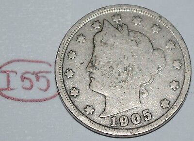 United States 1905 Liberty Head Nickel USA 5 Cents Coin Lot #I55