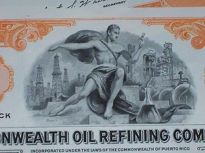 Lot of 15 Commonwealth Oil Company Stock Certificates