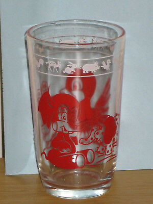 Vintage 1956 Kraft Kiddie Kup Swanky Swig Juice Glass Elephant Bird Chick Red