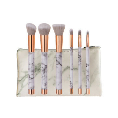 Marble Makeup Brushes with Cosmetic Bag Kabuki Face Powder Blusher Eye Brush Set