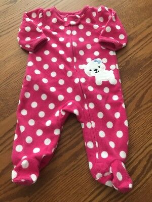 639dbea87 CHILD OF MINE 0-3 Months Baby Girl Pink Polka Dot Bear Fleece Footed ...