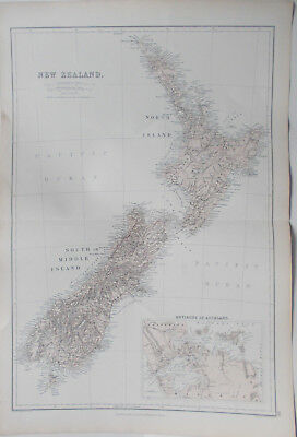 Antique Map  New Zealand Circa 1882 Environs Auckland (inset map)