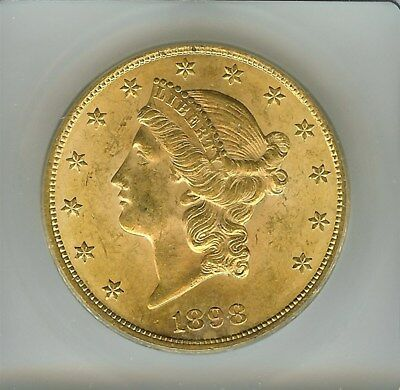 1898 Liberty Head $20 Gold Double Eagle  Icg Ms63  Rare This Nice!