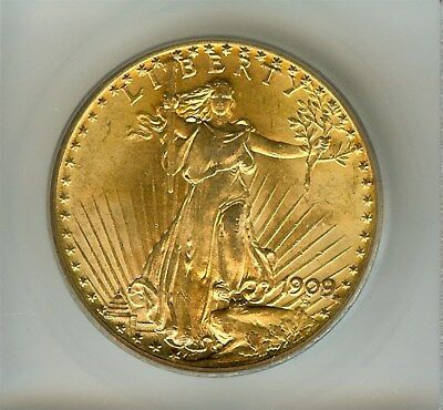 1909/8 Saint Gaudens $20 Gold Double Eagle  Icg Ms63 Price Guide Value $4,250!