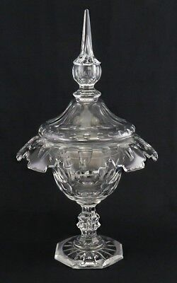 Antique Bohemian Cut Glass Covered Compote Footed Dish St. Anthony Design