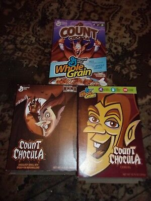 3 Vintage Count Chocula Cereal Boxes