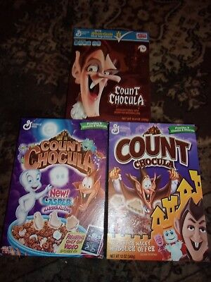 3 Vintage Count Chocula with Casper Cereal Boxes