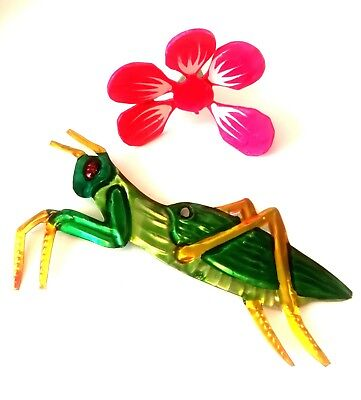 Mexican Tin Folk Art Small Insect Grasshopper / Cricket Authentic