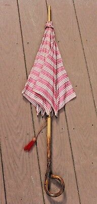 Antique Vintage Carved Wood Handle Parasol Red/White Fabric