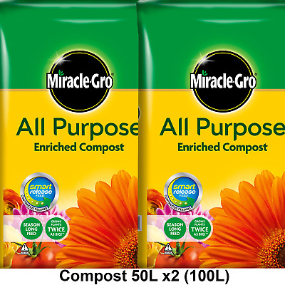 Miracle-Gro All Purpose Enriched Compost 100L Potted Plants Flowers Potting Soil