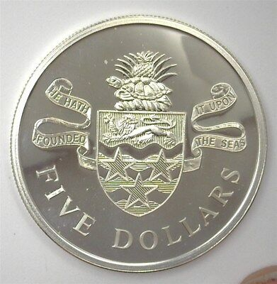 Cayman Islands 1973 Silver 5 Dollars  Perfect Proof Dcam