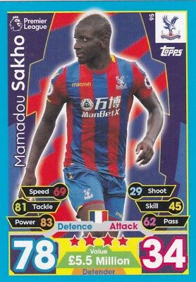 Topps Match Attax Premier League Mamadou Sakho -Crystal Palace FC Card No.95