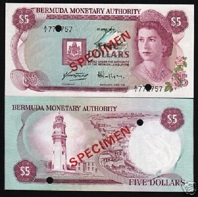 Bermuda 5 Dollars P29 1978 Queen *specimen* Boat Lighthouse Unc Money Bank Note