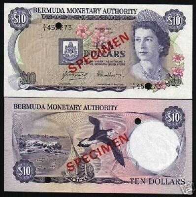 Bermuda 10 Dollars P30 1978 Queen Bird Boat Unc *specimen* Money Currency Note