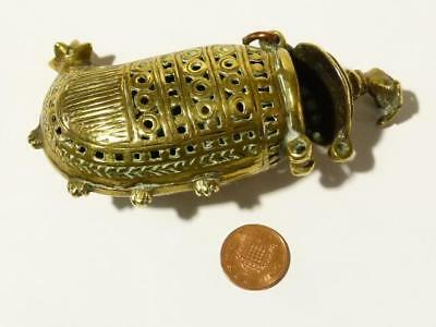 Antique Brass Chinese Asian Cricket Insect Cage Pierced WATER BAG Shaped Box