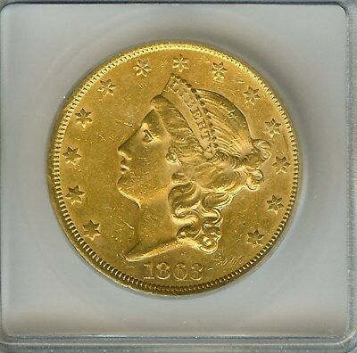 1863-S Liberty Head $20 Gold Double Eagle  Icg Au58  Rare This Nice!!