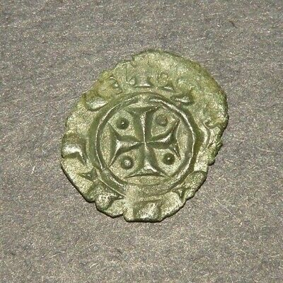 Crusader Cross Antique Coin 1200's Europe Medieval Ancient Templar Chalice Grail