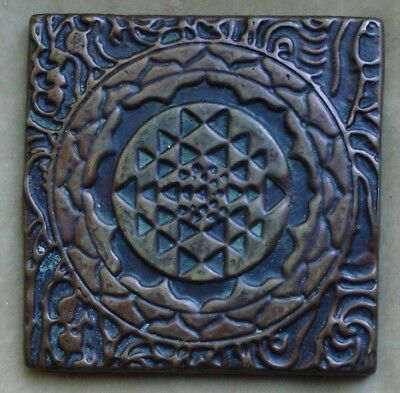 Antique Arts and Crafts Tibet style mandala plaque, bronze, 19th c